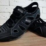 Летние, натуральная кожа, кроссовки мокасины сандалии ECCO черные мужские легкие Мужские кожаные са