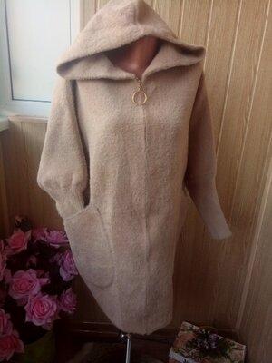 Женское беж теплое пальто -кардиган ангора альпака