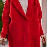 Женское теплое пальто -кардиган ангора альпака