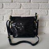 Кожаная сумка с лазерным напылением черная