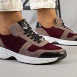 Крутые замшевые кроссовки Луи Витон цвет марсала с капучино