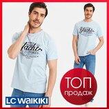 Мужская футболка голубая LC Waikiki / Лс Вайкики с нашивкой Yacht