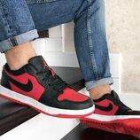 Кроссовки мужские Nike Air Jordan 1 Low, черные с красным