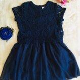 Дизайнерское платье от LINDEX. HOLLY WHYTE. Ажурное. Синее платье верх Венецианское цветочное круже