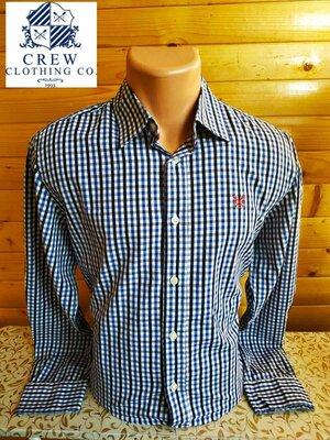 Комфортная рубашка знаменитого бренда из Англии Crew Clothing в синюю клетку.