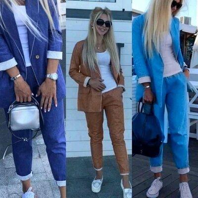 Костюм брюки и пиджак 38-60 розміри тканина рубашка-джинс або льон