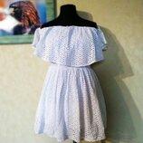 Белое короткое платье хлопок прошва