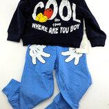 Детский костюм 2 и 3 года синий детские костюмы с рисунком Турция