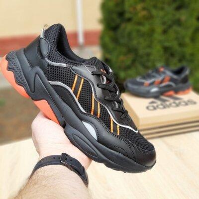 Кроссовки мужские Adidas Ozweego чёрные с оранжевым