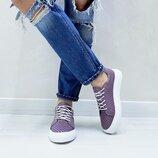 Женские фиолетовые сиреневые натуральные кожаные кеды Перфорация Белая подошва Натуральная кожа Цвет