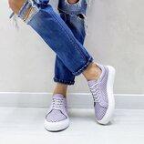 Женские светло фиолетовые лаванда кожаные кеды Перфорация Белая подошва Натуральная кожа