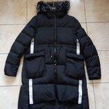 Стильный стеганый пуховик р.XL натуральный пух, длинная куртка пальто