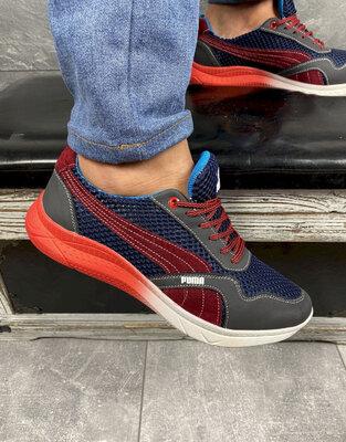Мужские кроссовки текстильные летние синие-красные CrosSAV