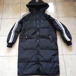 Стильный стеганый пуховик р. L, XL натуральный пух, длинная куртка пальто