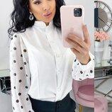 Блузка рубашка женская супер софт шифон принт горох бежевый черный белый