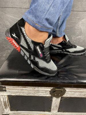 Мужские кроссовки текстильные летние черные-серые CrosSAV