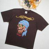 Бомбезная хлопковая футболка элитного бренда череп с бородой со стразами EdHardy.