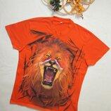 Суперовая хлопковая мужская яркая футболка со львом и надписью Los