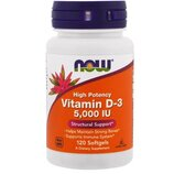 Now Foods, Витамин D-3, высокоактивный, 5000 Ме, 120 шт