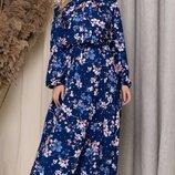 Платья миди с бантом рукавами фонарик софт принт цветы синий пудра бордо