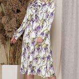 Платье миди с бантом рукавами фонарик батал софт принт цветы синий белый пудра