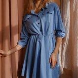 Платье рубашка с кулиской на поясе креш лен беж кемел пудра голубой