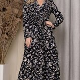 Платье миди имитация запах батал софт принт цветочный черный голубой белый
