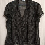 Блузочка черная в белый горошек