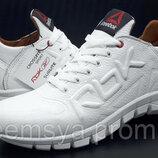 Кроссовки качественные кожаные Reebok на белой подошве Белый