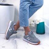 Женские замшевые кроссовки New Balance серые, синие