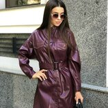 Женское стильное кожаное платье