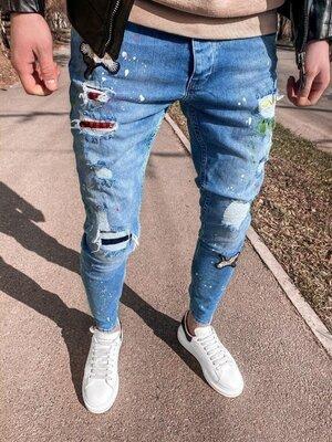 2020. Варианты. Европейское качество. Мужские стильные джинсы рваные зауженные 2Y Premium 5052