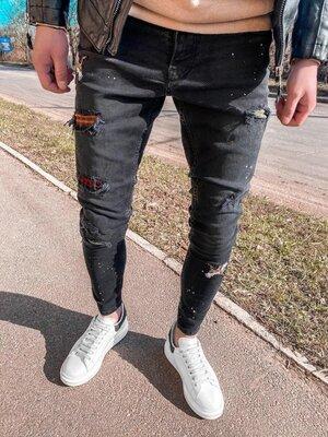 2020. Варианты. Европейское качество. Мужские стильные джинсы рваные зауженные 2Y Premium 5074