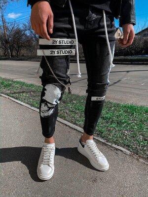 2020. Варианты. Европейское качество. Мужские стильные джинсы рваные зауженные 2Y Premium b 5138