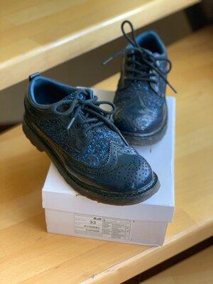 Туфли на толстой подошве b&g р. 33, блеск, глиттер