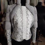 Куртка из натуральной кожи питона и норка сапфир