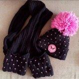 Комплект зимняя шапка и шарф 54 см