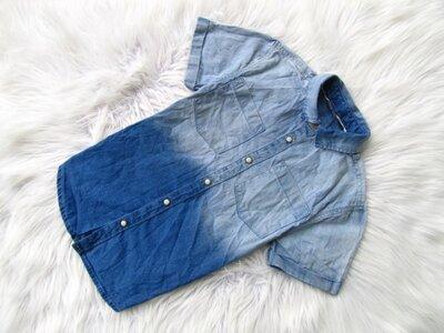 Стильная и качественная джинсовая Рубашка с коротким рукавом Primark