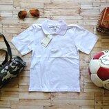 Белая футболка-поло для мальчика р.110-122. Турция