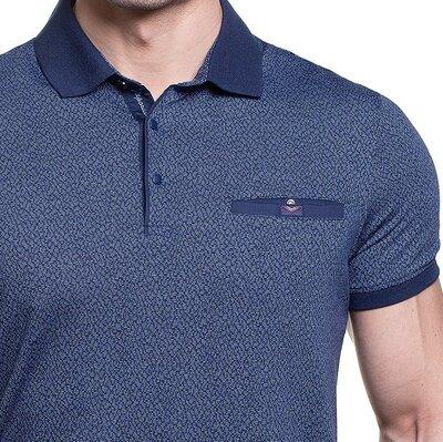 Синяя мужская рубашка поло Caporicco с воротом кнопках распродажа