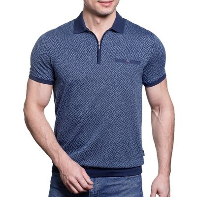 Синяя летняя рубашка-тенниска с воротом на змейке распродажа