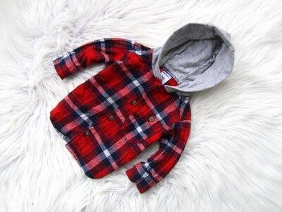 Качественная и стильная утепленная рубашка кофта реглан с капюшоном Carter's