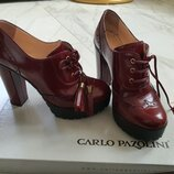 Ботильоны ботинки Carlo Pazolini кожа 36 размер, 23 см оп стельке, бордо