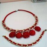 комплект Колье браслет ожерелье украшение на шею цепь цепочка красное