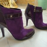 Ботильоны ботинки кожа 35 размер, 22,5 см по стельке, фиолетовые