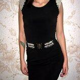 черное Платье жемчуг р-р 44-46 нарядное коктельное