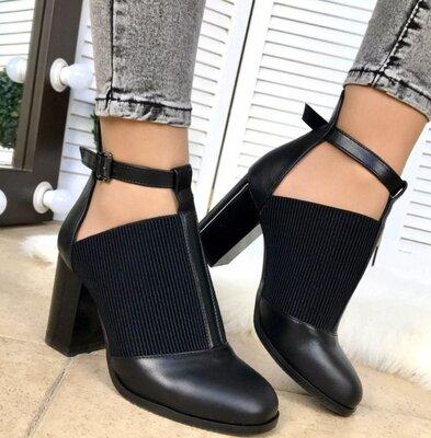 Женские чёрные натуральные кожаные закрытые туфли высокий каблук Натуральная кожа Резинка ремешок