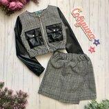 Модный комплект шорты-юбка блейзер