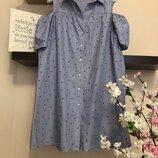 Летнее платье-рубашка свободного кроя, платье в полоску