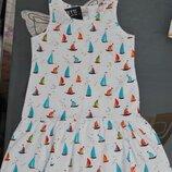 Летнее платье сарафан lovetti турция 5-8 лет парусники кораблики